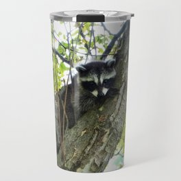Baby Raccoon on a tree Travel Mug