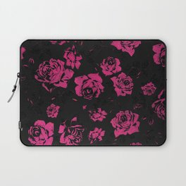 Girly Pink Rustic Floral Roses and Black Pattern Laptop Sleeve