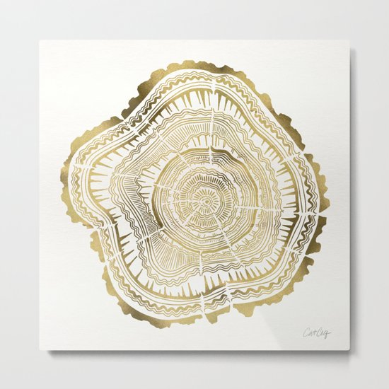 Gold Tree Rings Metal Print