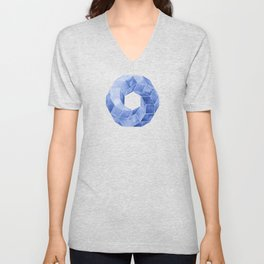 Watercolor Blue Impossible Polyhedron  Unisex V-Neck