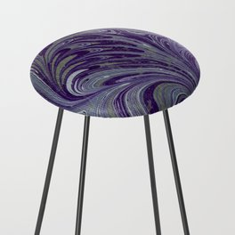 Purple, Blue, & Green Marbled Counter Stool