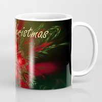 merry christmas Mugs featuring Merry Christmas by Roger Wedegis