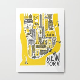 Manhattan New York Map Metal Print