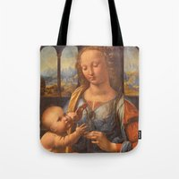 da vinci Tote Bags featuring Leonardo da Vinci by Palazzo Art Gallery