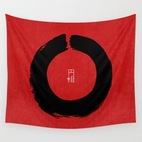 buddhism Wall Tapestries featuring ENSO IN JAPAN by THE USUAL DESIGNERS