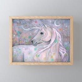 Twinkling Lights Unicorn Fantasy Watercolor Art by Molly Harrison Framed Mini Art Print