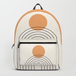 Mid Century Modern Geometric 61 (Rainbow and Sun Abstraction) Backpack