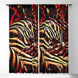 1206s-AK Abstract Striped Nude Rendered in Red Yellow and Gold Blackout Curtain