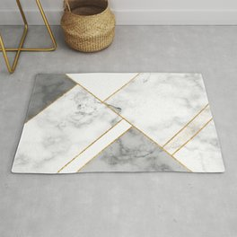 White, Grey and Gold Marble Rug