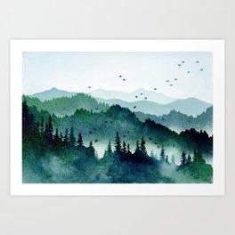 Watercolor Mountains - Handpainted Landscape Art Pine Trees Forest Wanderlust Art Print