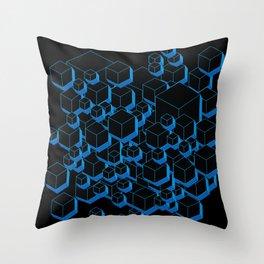 3D Futuristic Cubes Throw Pillow