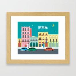 Havana, Cuba - Skyline Illustration by Loose Petals Framed Art Print