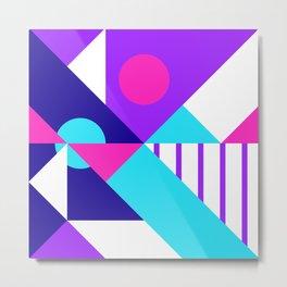 Geometric Purple/Blue/White/Cyan Metal Print