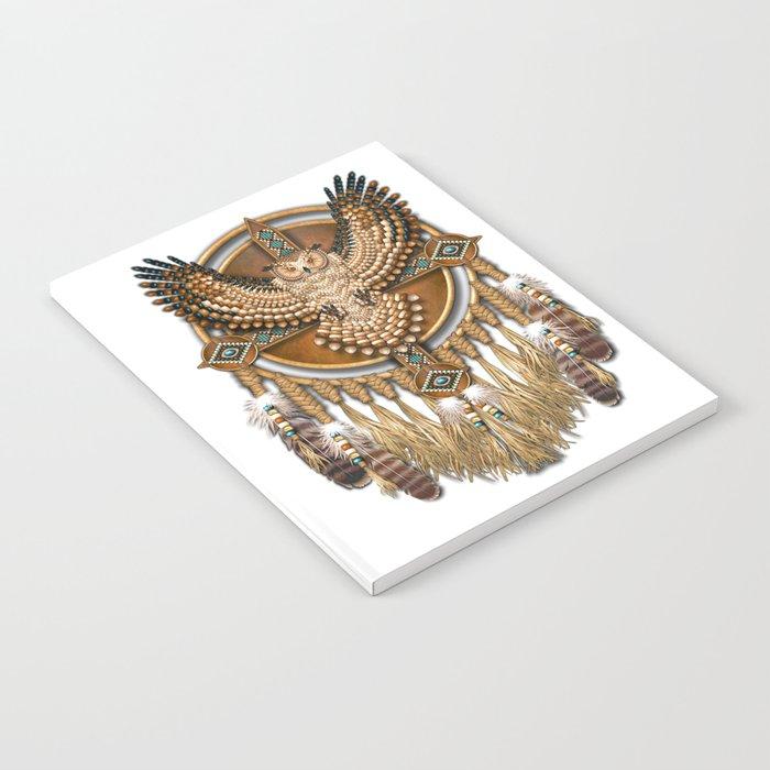 Native American-Style Great Horned Owl Mandala Notebook