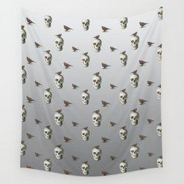 Skull & bird, watercolor Wall Tapestry
