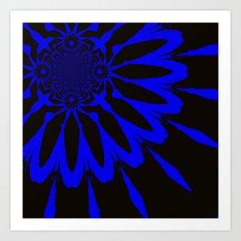 The Modern Flower Black and Blue Art Print