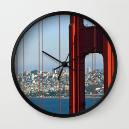 Golden Gate Bridge – Panoramic Downtown View Wall Clock