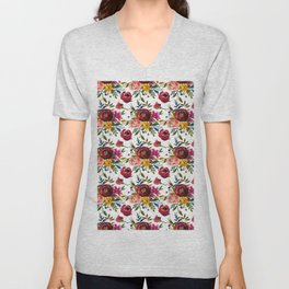 Red pink coral yellow watercolor modern floral Unisex V-Neck