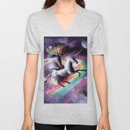 Space Cat Riding Unicorn - Laser, Tacos And Rainbow Unisex V-Neck