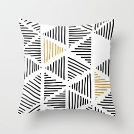 Simple Geometric Zig Zag Pattern - Black Gold White - Mix & Match with Simplicity of life Throw Pillow
