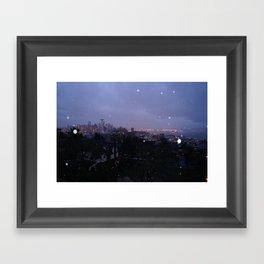 Seattle Skyline at Sunrise During the rain Framed Art Print