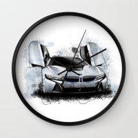 bmw Wall Clocks featuring BMW i8 by an.artwrok