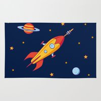 spaceship Area & Throw Rugs featuring Spaceship! by Doodle Dojo