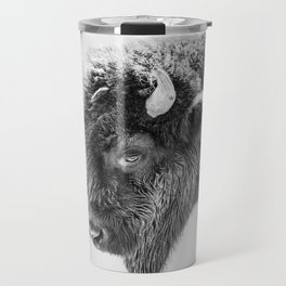 Animal Photography | Bison Portrait | Black and White | Minimalism Travel Mug