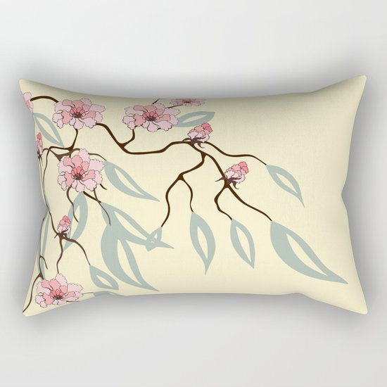 Floral. Dreams of spring. Pink sakura. Rectangular Pillow