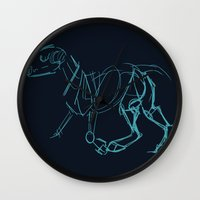 bull terrier Wall Clocks featuring Bull Terrier by Tooel