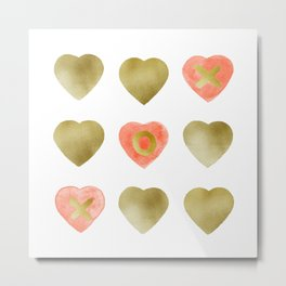 Tic tac toe hearts - blush and gold palette Metal Print
