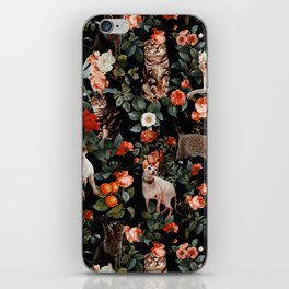 Cat and Floral Pattern II iPhone Skin