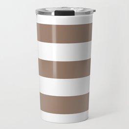Beaver - solid color - white stripes pattern Travel Mug