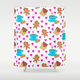 Cute sweet gingerbread men cookies, chocolate bars, cups of hot cocoa, pink hearts winter pattern Shower Curtain