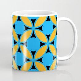 Geometric Floral Circles In Bold Turquoise Gold & Black Coffee Mug