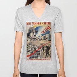 Vintage poster - Soviet Metro Unisex V-Neck