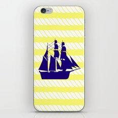 Blue Ship with Yellow Ropes iPhone & iPod Skin