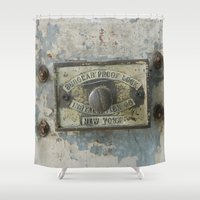 dumbo Shower Curtains featuring DUMBO Loft Door Lock-Brooklyn, New York by Rob Howell
