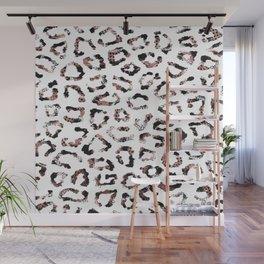 Modern rose gold black white leopard animal print Wall Mural