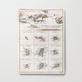 Vintage Islands of The Caribbean Map (1780) Metal Print