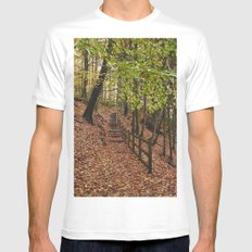 Steps through autumnal woodland. Derbyshire, UK. MEDIUM White Mens Fitted Tee
