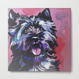 Fun Black Cairn Terrier bright colorful Pop Art Dog Portrait by LEA Metal Print