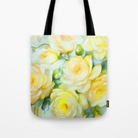 shabby chic Tote Bags featuring Shabby Chic Yellow by Jacqueline Maldonado