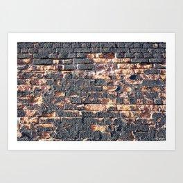 black orange urban worn damaged brick wall photo texture Art Print