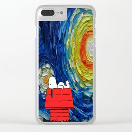 Snoopy Starry Night Clear iPhone Case