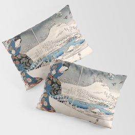 Japanese Vintage Kunisada Hiroshige Snowy Landscape Pillow Sham