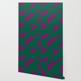 Octerson Green Purple Camouflage Army Pattern Wallpaper