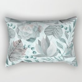 Watercolor Leaf And Succulent Pattern Rectangular Pillow