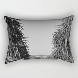 Hollywood Sign, Hancock Park Street view line by palm trees black and white photograph Rectangular Pillow