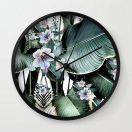 Banana leaf tropical paradise, leaves, hibiscus, Hawaii Wall Clock